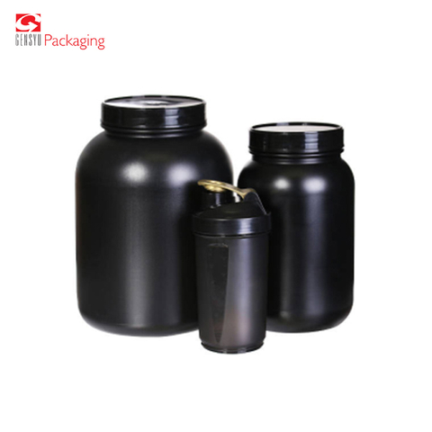 Gensyu Black Hdpe Plastic Nutrition Empty Protein Food Powder Container